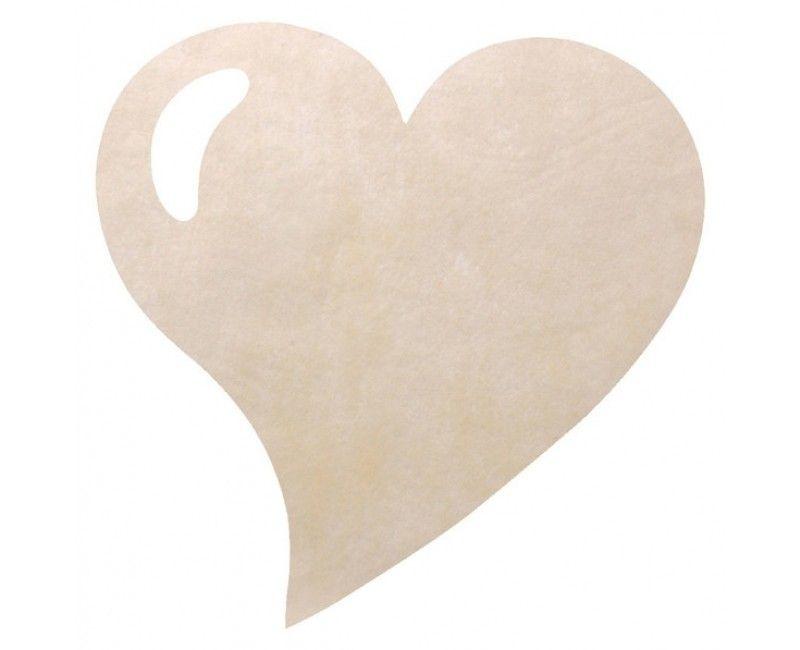 Placemat hart glitter ivoor wit, 2 stuks