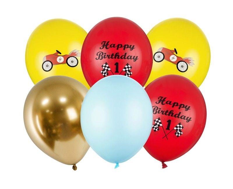 Ballonnenset verjaardag 1 jaar vintage race auto, 6 ballonnen