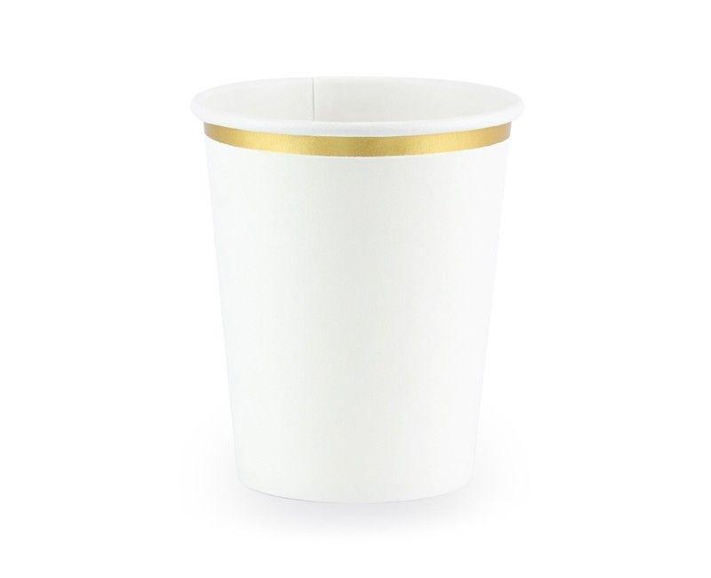 Beker wit met goud metallic, 6 stuks