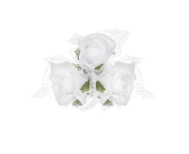 Boeketje van 3 witte rozen en tule met zuignap, 4 stuks