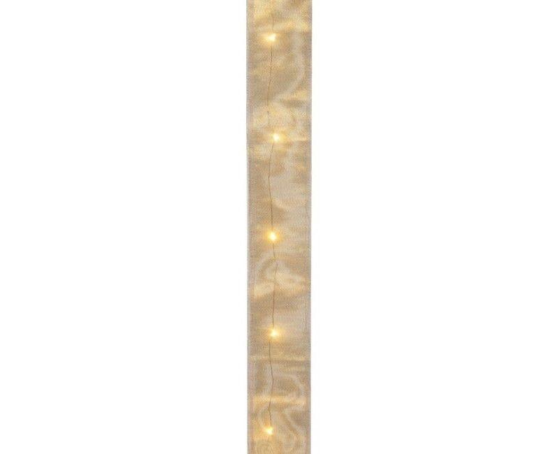 Decoratief lint 50mm goud metallic met LED lampjes, 1.5 meter