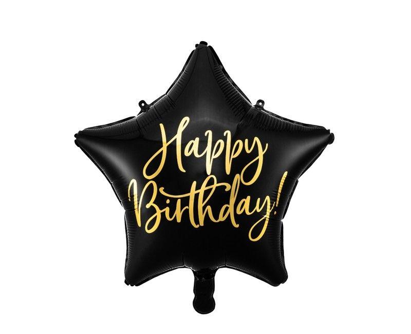 Folieballon 40cm Happy Birthday! zwart en goud metallic