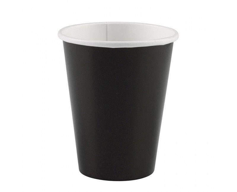 Kartonnen beker 266ml zwart, 8 stuks