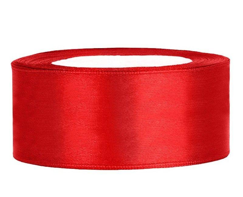 Satijn lint rood 25mm breed, rol 25 mtr