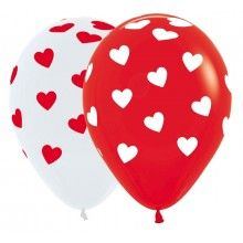 Sempertex ballonnen rood/wit, classic hearts 25 stuks