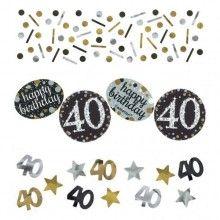 Tafelconfetti happy birthday 40, zwart zilver