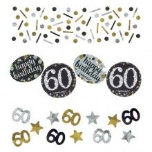 Tafelconfetti happy birthday 60 , zwart zilver