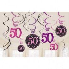 Hangdecoratie happy birthday 50, zwart pink glitter