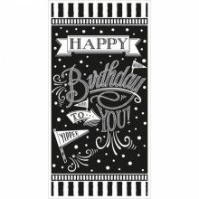 Banier happy birthday black & white