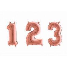 Folieballon cijfers 35 cm rose goud