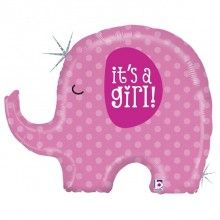 Folieballon it's a girl olifant 81 cm