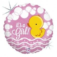 Folieballon Folieballon bubble ducky girl