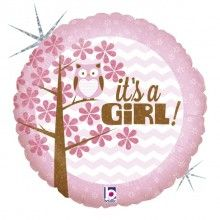 Folieballon it's a girl baby, round 46 cm