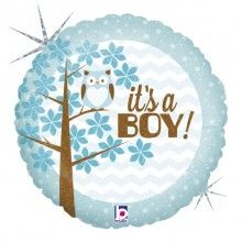 Folieballon it's a boy baby, round 46 cm