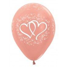 Sempertex ballonnen rose gold metallic, enchanted hearts 25 stuks