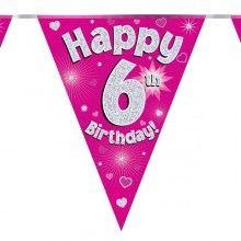 Vlaggenlijn Happy 6th birthday, glitter fuchsia