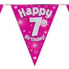 Vlaggenlijn Happy 7th birthday, glitter fuchsia