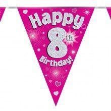 Vlaggenlijn Happy 8th birthday, glitter fuchsia