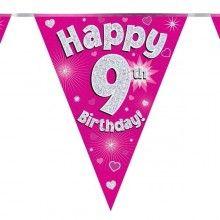 Vlaggenlijn Happy 9th birthday, glitter fuchsia