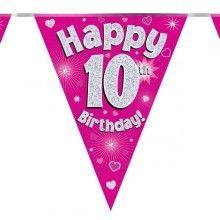 Vlaggenlijn Happy 10th birthday, glitter fuchsia