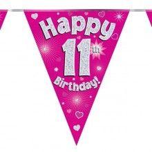 Vlaggenlijn Happy 11th birthday, glitter fuchsia
