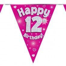 Vlaggenlijn Happy 12th birthday, glitter fuchsia