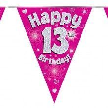 Vlaggenlijn Happy 13th birthday, glitter fuchsia