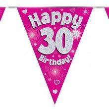Vlaggenlijn Happy 30th birthday, glitter fuchsia