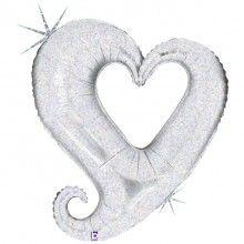 Folieballon chain of hearts silver