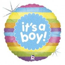 Folieballon it's a boy rainbow stripes