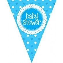 Vlaggenlijn Babyshower boy, glitter blauw