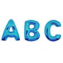 Folieballon letters 100 cm blauw