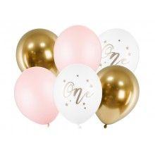 Ballonnenset 1 jaar roze-wit-goud, 6 ballonnen