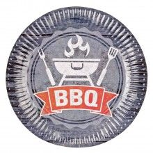 Borden 23cm BBQ thema, 8 stuks