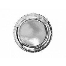 Bord 23 cm zilver metallic, 6 stuks