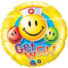 Folieballon Get well Smiley