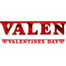 Letterslinger Valentine's Day rood metallic, 200 x 15cm