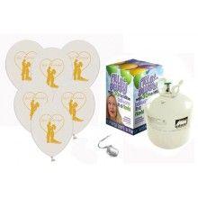 Heliumtank met 30 Just Married couple ballonnen