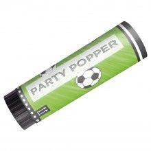 Party popper voetbal 15cm, 2 stuks