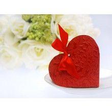 Bedankdoosje rood hart met satijn lint, 10 stuks