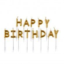 Verjaardags kaarsjes Happy Birthday goud